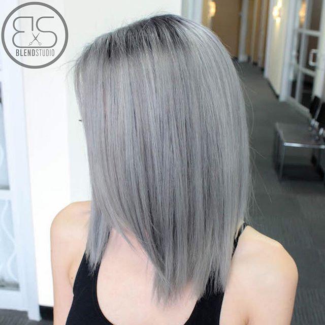 gray long bob hairstyle