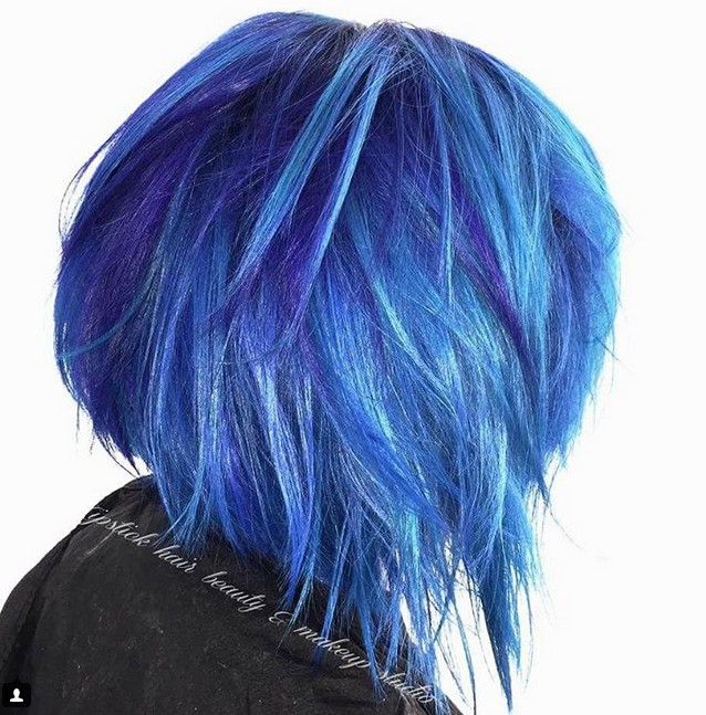 hair color layer blue choppy