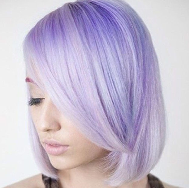 pastel purple bob hairstyle with bangs