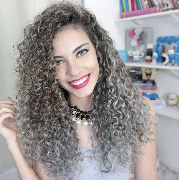 Permed Long Curly Hairstyle Silver Perms Look
