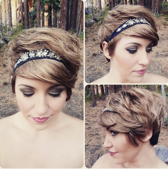 romantic pixie cut with bangs and headband