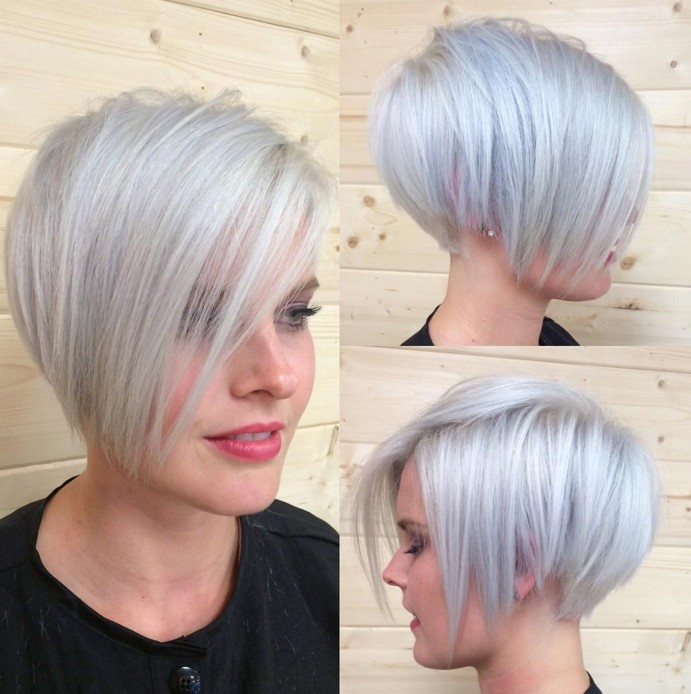 Stylish grey-tinted pixie with blonde piecey fringe & long side-points