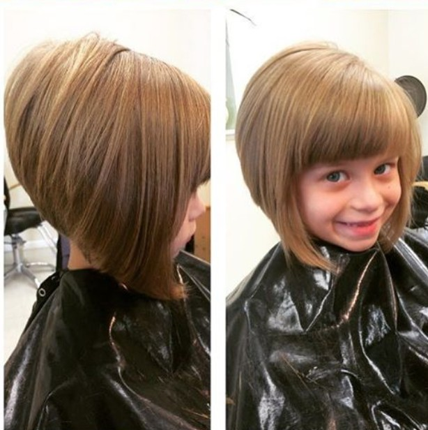 Short Blonde Stacked Bob Haircut With Bangs For Little Girls