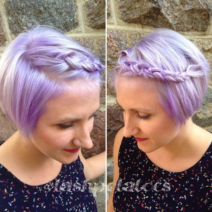 short braided bob haircut - pastel bob hairstyle with braid