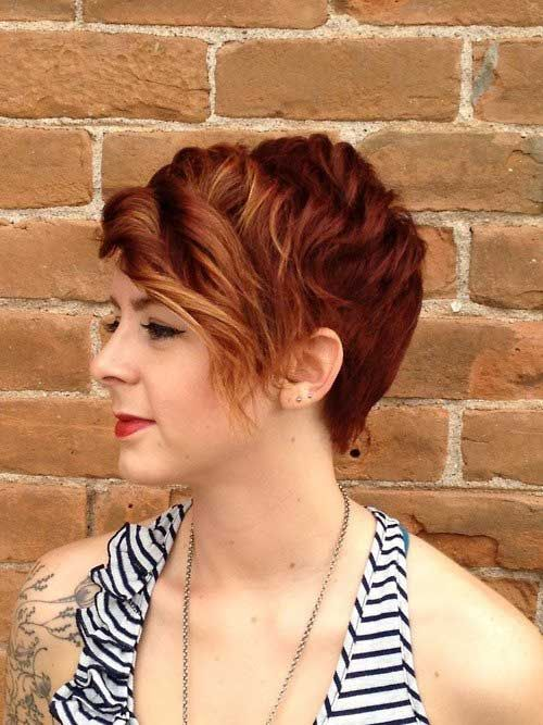 short red curly pixie hairstyle