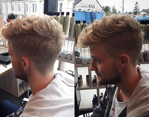 short wavy Faux Hawk haircut for men