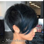 side view of short black pixie cut