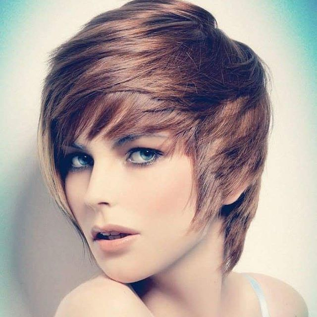 simple layered long pixie cut with bangs