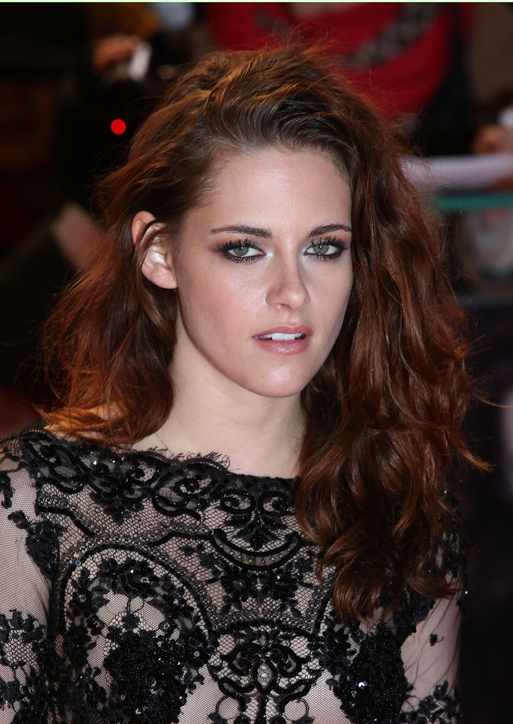 Kristen Stewart Celebrity Auburn Wavy Hairstyle for Long Hair