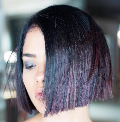 Lavender Highlights in Blunt Bob