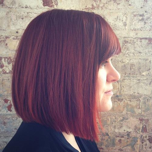 Red Blunt Bob with Bangs