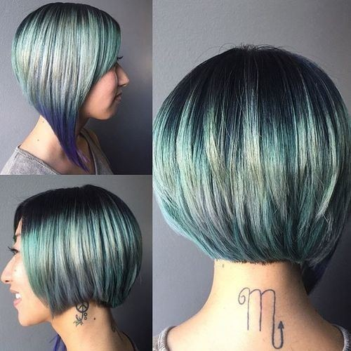 Asymmetrical Short Bob Cut - Ombre Balyage Highlight