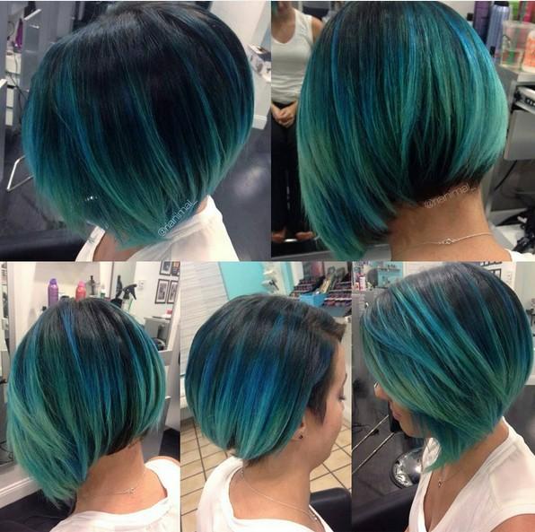 Chic, Straight Bob Haircut - Blue Balayage Ombre