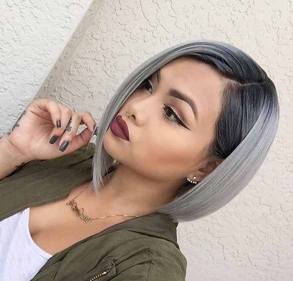 Grey Bob Haircut With Straight Hair Medium Hairstyles