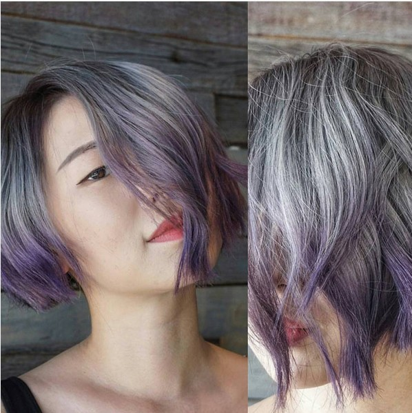 Lob Hair Styles with Grey to Purple Hair Color - Short Balayage Hairstyles for Thick Hair