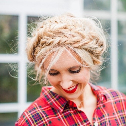 Messy Fishtail Milkmaid Braid