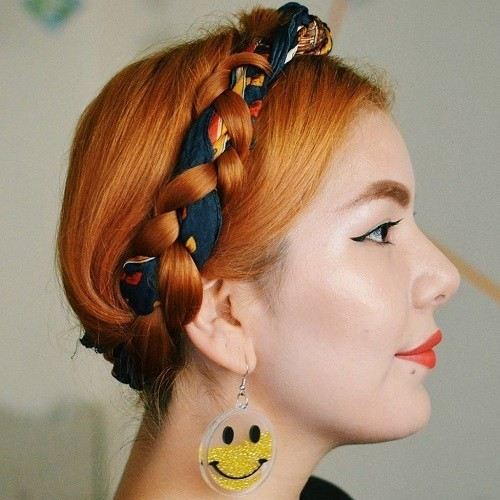 Milkmaid Braid with a Scarf