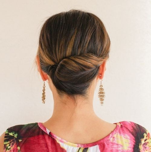 Tight Back Twist Updo For Medium Length Hair