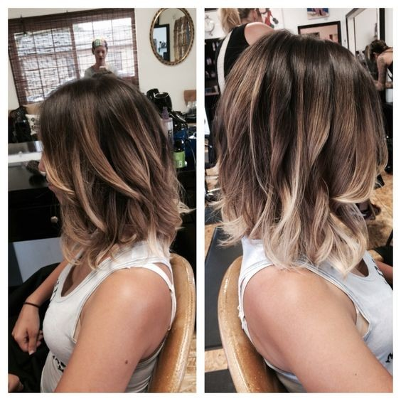 Wavy Lob Hairstyle - Balyage highlights for a long bob, 2016 Hair Color