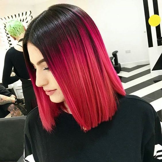 Black to Pink Ombre Hair - Blunt, Straight Long Bob Haircut