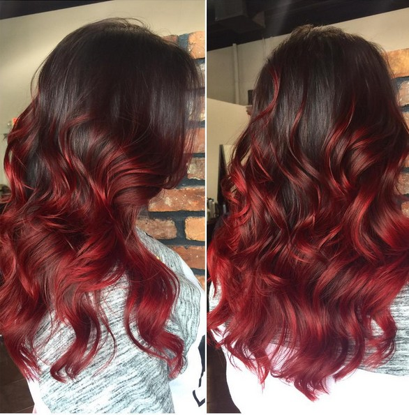 Dark Brown Hair With Dark Red Ombre