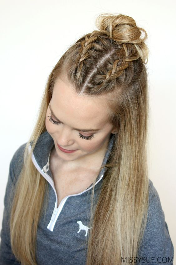 Summer is nearly here so I thought it'd be the perfect time to feature a few hairstyles that would be greatfor the gym, playing sports, or even worn as a heatless style! These three all incorporate your basic dutch braid or french braid and are easy to recreate. If you haven't learned these two specific braids yet then you better get started, summer's almost here! Double French Braid Buns Instructions: Step 1 / Brush through the hair and part it where you normally would. I have mine in a di...: