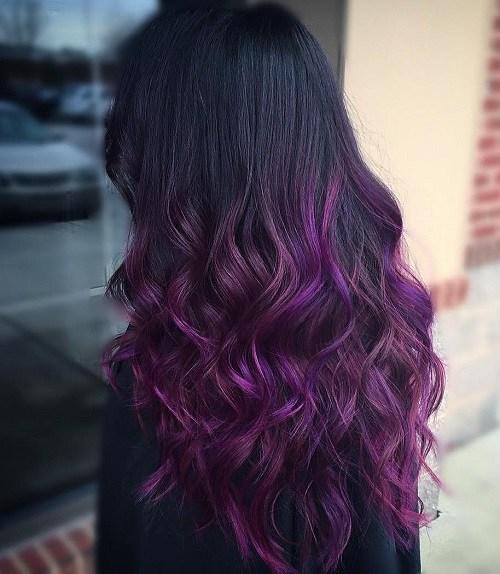 Black and Lavender Curls