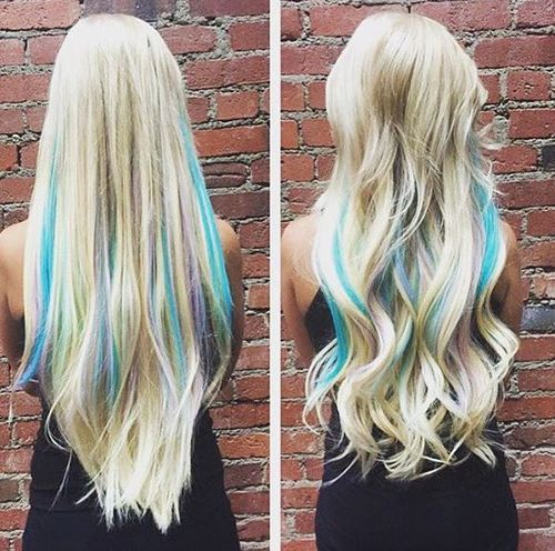 Blonde Hair with Blue Highlights