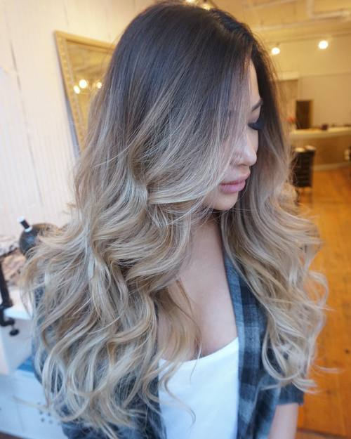 Brown and Blonde Curls with Side Parting
