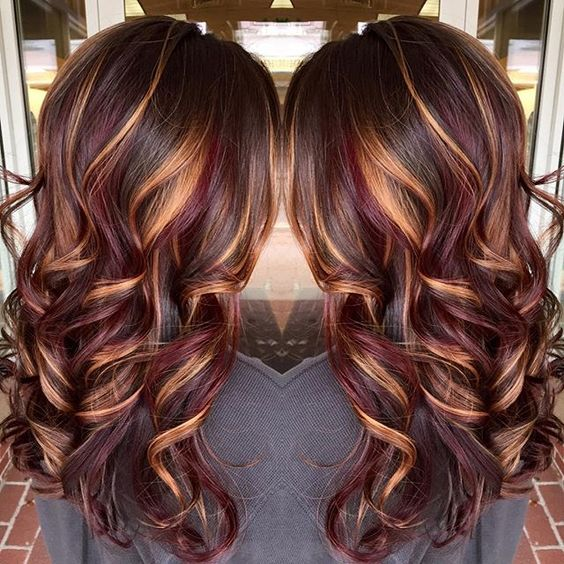 Brunette hair color with burnished blonde highlights