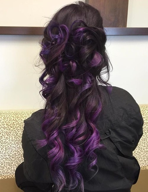Half up Half down with Lavender Highlights
