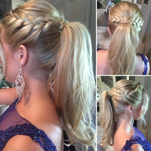 High Ponytail with Side Braids
