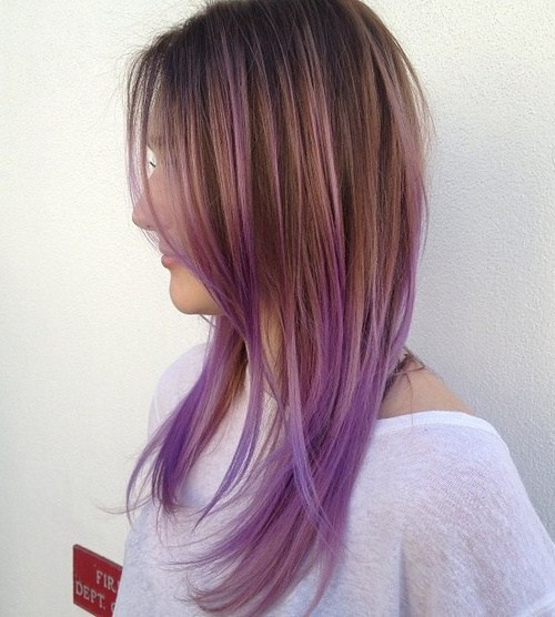 Lavender Ombre Straight Hair