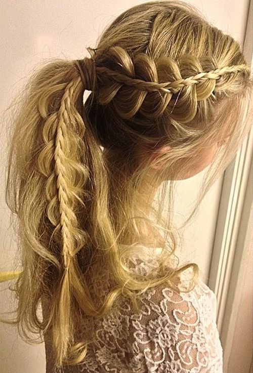 Ponytail with French Braids