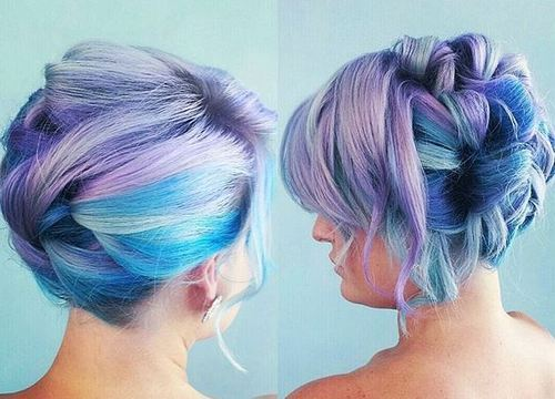 Purple and Blue Updo