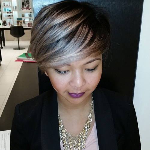 Short Hair with Sliver Highlights
