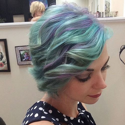Short Purple and Teal Hair