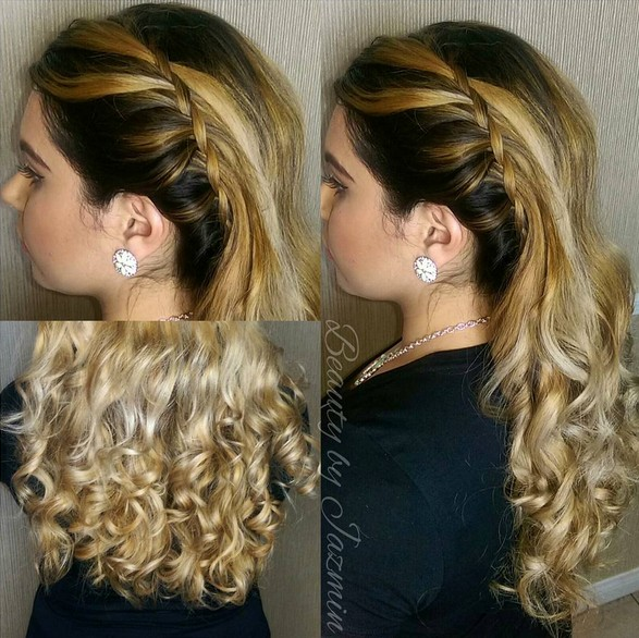 Side Waterfall Braid, with Voluminous Bouncy Curls - Easy Homecoming Long Hairstyles