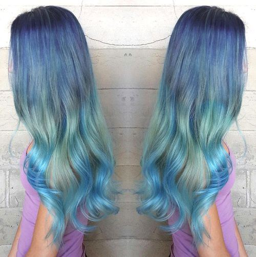 20 blue hair color ideas pastel blue balayage ombre blue amazing purple hair color trends for long hair with green band sky blue ombre pmusecretfo Images