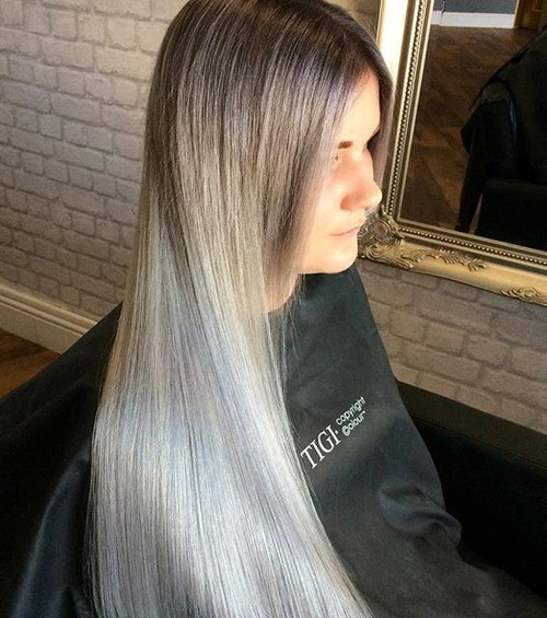 Sliver Long Straight Hair
