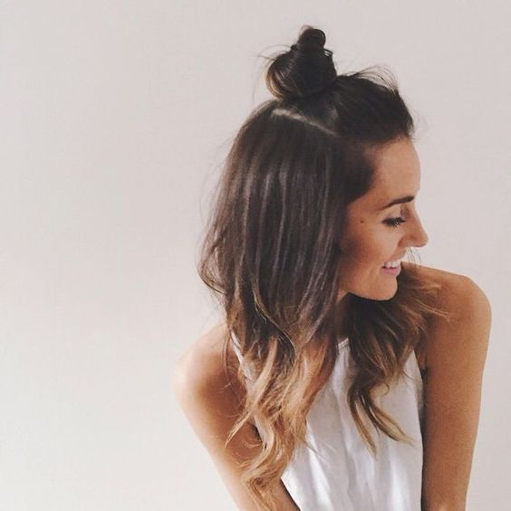 Cute half up top knot, half up top bun: