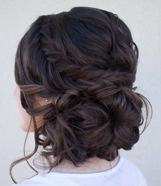 Curly Side Bun + Fishtail Braid: