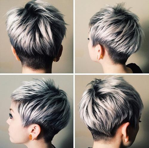 Chic Silver Hair Over Black Roots 40 Best Pixie Haircuts For Women 2018 Short Long Cuts