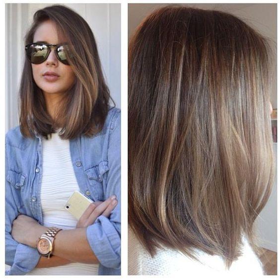 brunette balayage lob hairstyle 2017