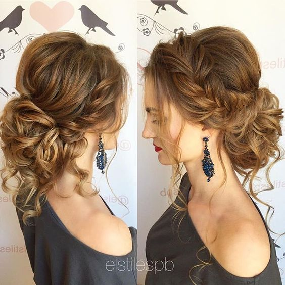 Romantic updo for medium length hair