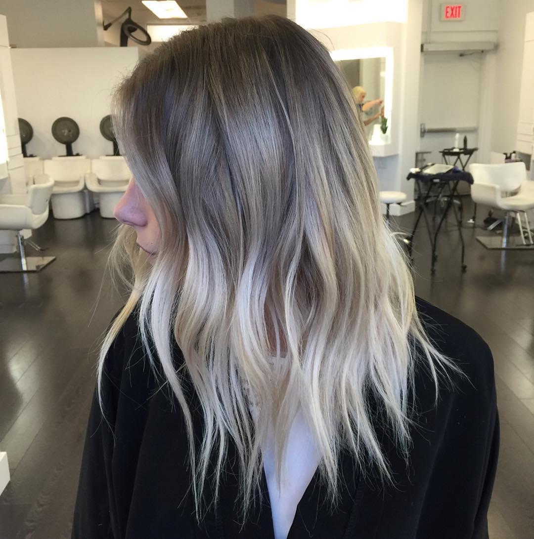 Dark brown to ash blonde balayage